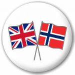 Great Britain and Norway Friendship Flag 25mm Pin Button Badge